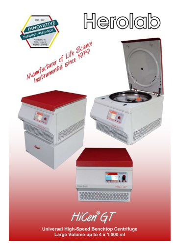 HiCen GT - Large Volume Table Top centrifuge