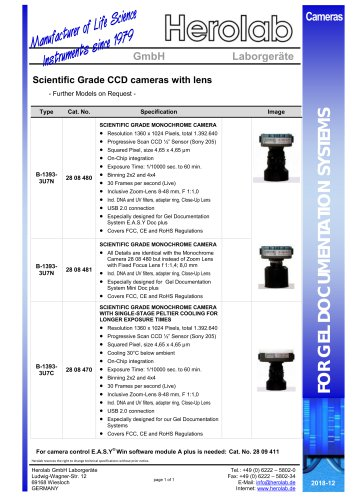 Scientific Grade CCD cameras with lens