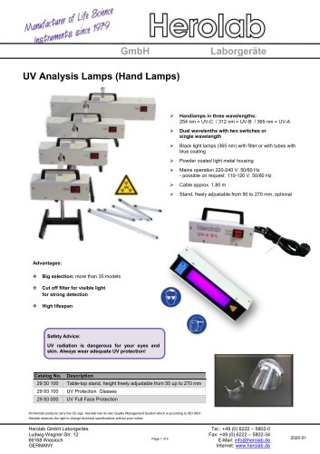 UV Analysis Lamps