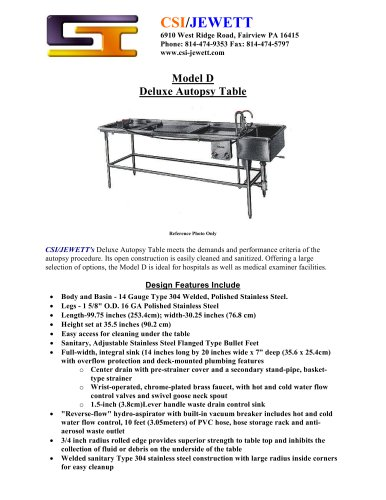 Model D Deluxe Autopsy Table