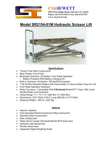 Model SR2154-01M Hydraulic Scissor Lift