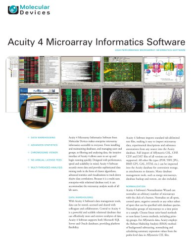 Acuity 4 Microarray Informatics Software