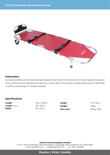 First Call Stretcher with Folding Footstop