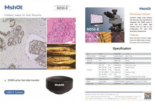 Mshot MD50-B microscope camera catalogue