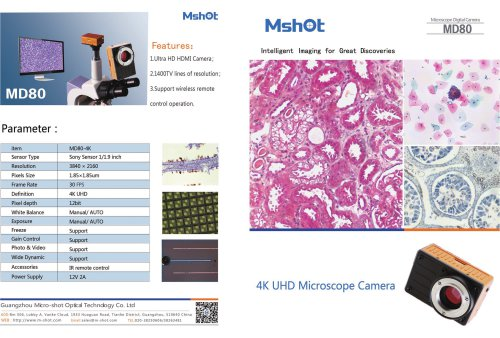 Mshot MD80-HD 4K HDMI camera catalogue