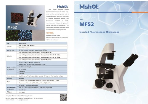 MShot MF52 inverted fluorescence microscope