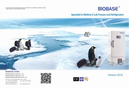 BIOBASE Cold Chain Products Catalogue