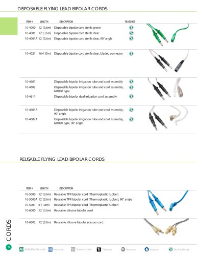 DISPOSABLE FLYING LEAD BIPOLAR CORDS