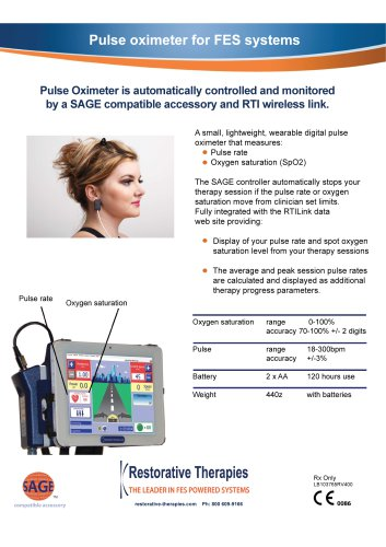 Pulse oximeter for FES systems