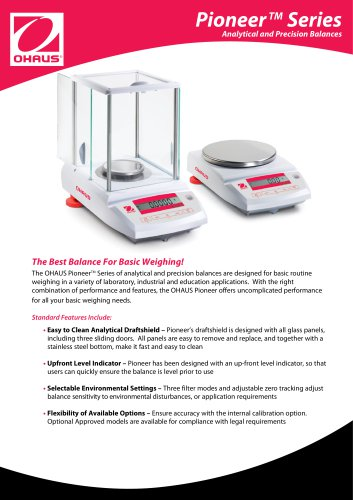 Pioneer Series Analytical and Precision Balances