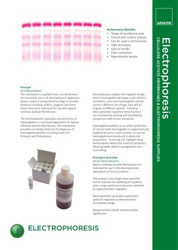 Electrophoresis CELLULOSE ACETATE MEMBRANES & ELECTROPHORESIS SUPPLIES