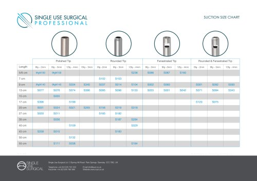 SUCTION SIZE CHART