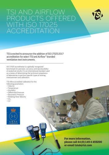 ISO 17025 Accreditation - Ventilation Test instruments