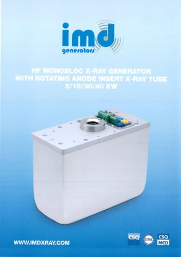 HF MONOBLOC X-RAY GENERATOR WITH ROTATING ANODE INSERT X-RAY TUBE 5/15/30/40 KW