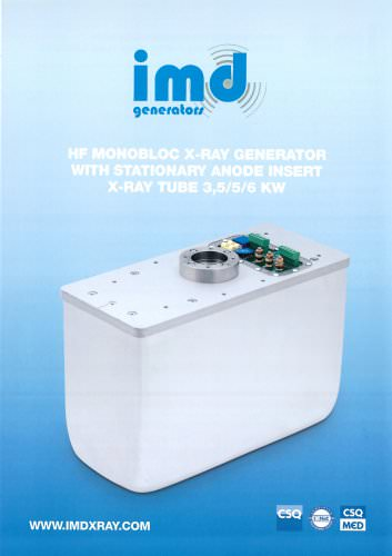 HF MONOBLOC X-RAY GENERATOR WITH STATIONARY ANODE INSERT X-RAY TUBE 3,5/5/6 KW