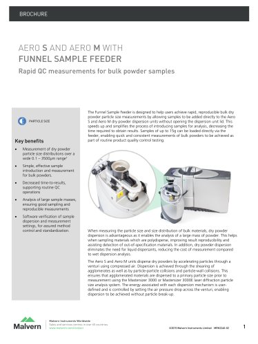 Aero S and Aero M with Funnel sample feeder - Rapid QC measurements for bulk powder samplef