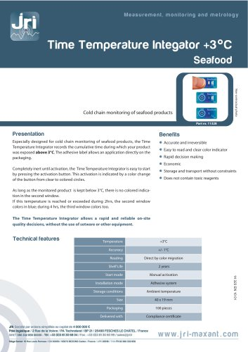 TIME TEMPERATURE INTEGRATOR +3°C SEAFOOD