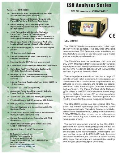 ESU Analyzer Series BC Biomedical ESU-2400H