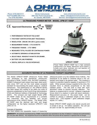 Ultrasound Power Meter - Digital - 200 mW Resolution