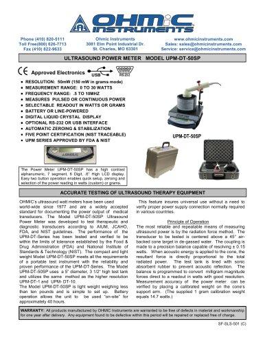 Ultrasound Power Meter - Digital / Portable - 50 mW Resolution