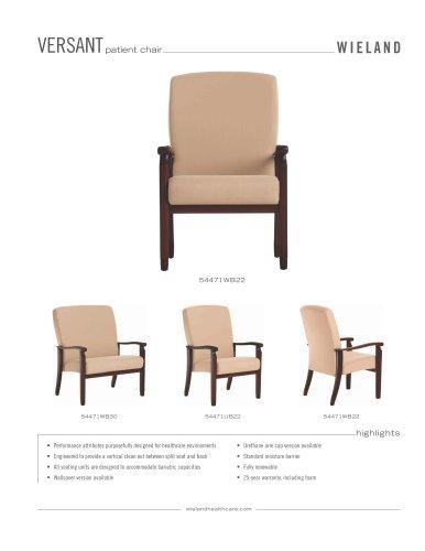 versant patient chair, wood arm