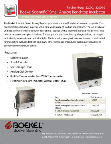 Boekel Scientific™ Small Analog Benchtop Incubator