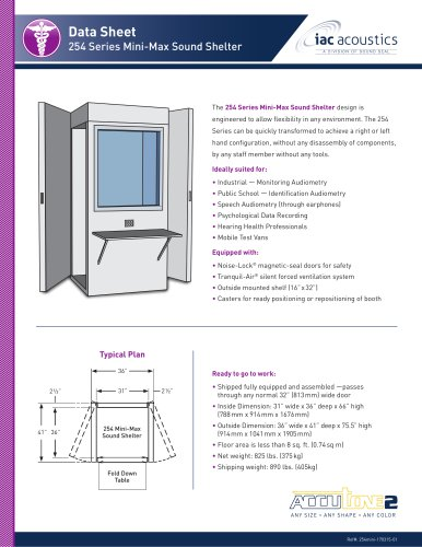 Data Sheet 254 Series Mini-Max Sound Shelter