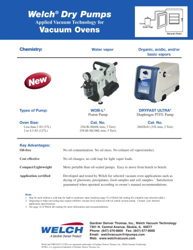 Welch® Dry Pumps (Vacuum Ovens)