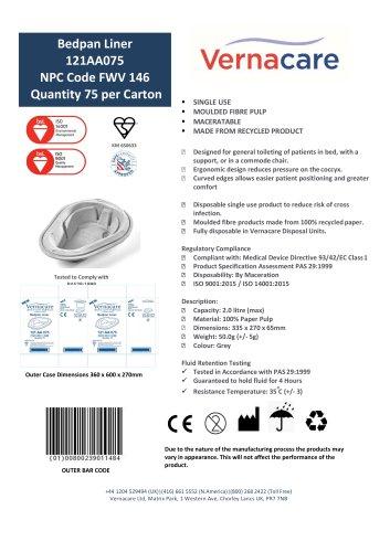 Bedpan Liner 121AA075 NPC Code FWV 146 Quantity 75 per Carton