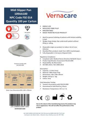 Midi Slipper Pan 109AA100 NPC Code FSE 014 Quantity 100 per Carton