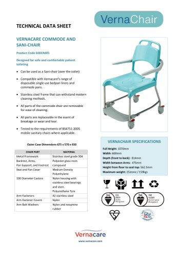 VERNACARE COMMODE AND SANI-CHAIR