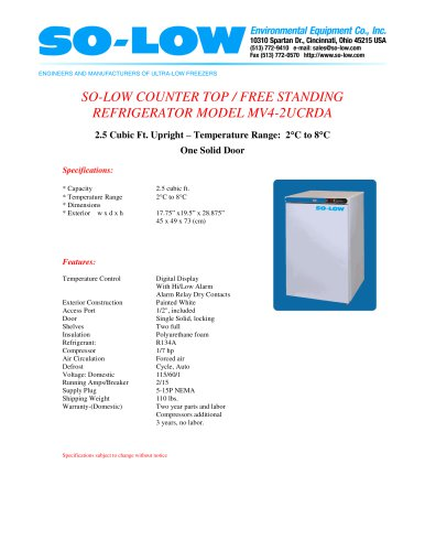 COUNTER TOP / FREE STANDING REFRIGERATOR MODEL MV4-2UCRDA