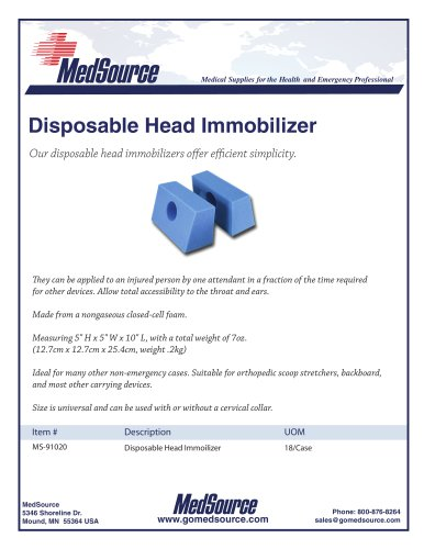 Disposable Head Immobilizer