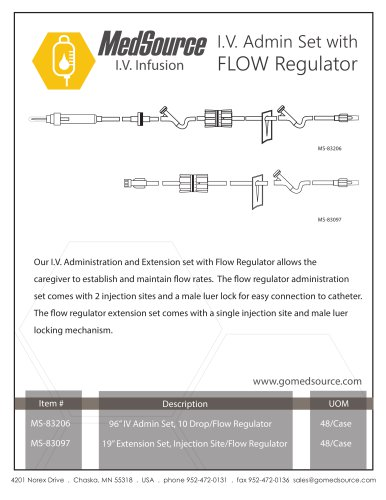 I.V. Administration and Extension set with Flow Regulator