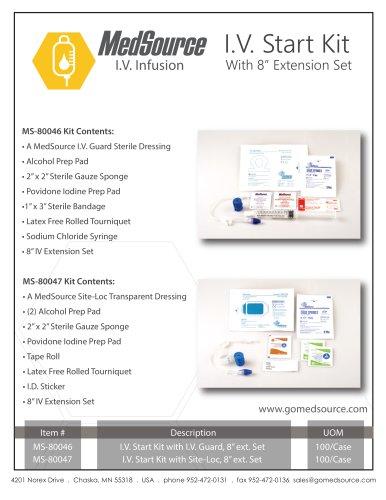 """I.V. Start Kit with Site-Loc, 8"""" ext. Set"""