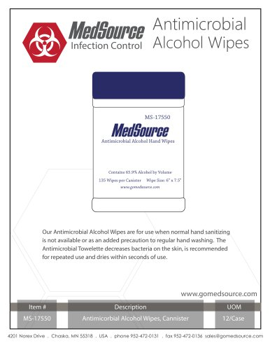 MedSourceAntimicrobial Alcohol Wipes