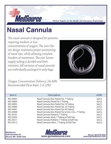 Nasal Cannula, Adult & Pediatric