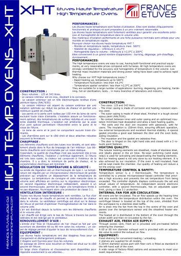 XHT - Etuves haute température