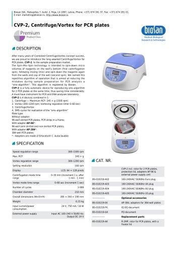 CVP-2, Centrifuge/Vortex for PCR plates