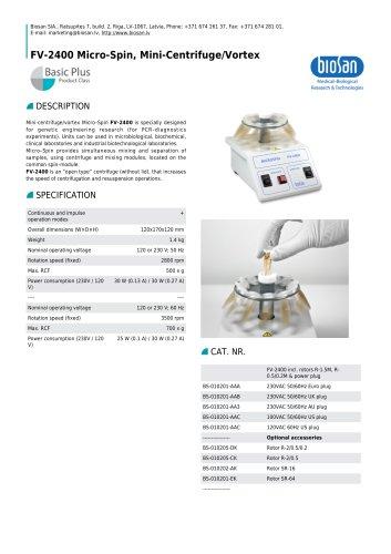 FV-2400 Micro-Spin, Mini-Centrifuge/Vortex