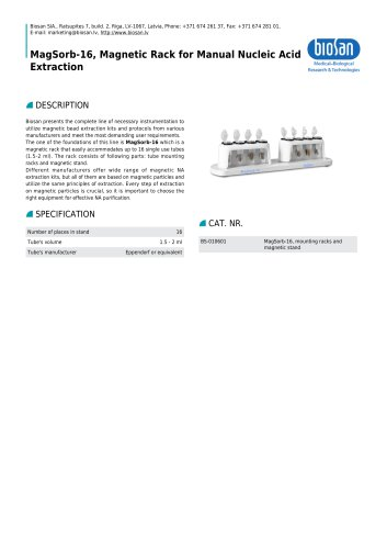 MagSorb-16, Magnetic Rack for Manual Nucleic Acid Extraction