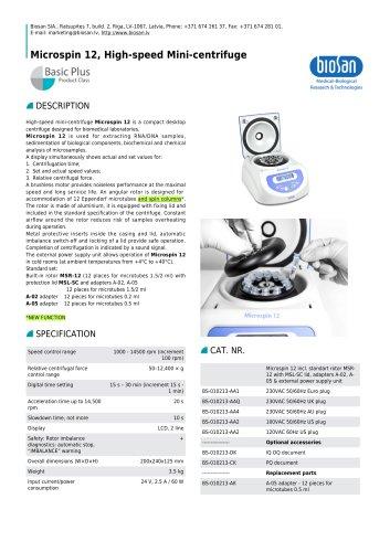 Microspin 12, High-speed Mini-centrifuge