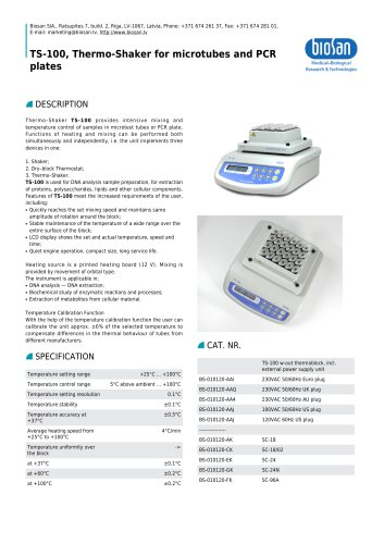 TS-100, Thermo-Shaker for microtubes and PCR plates