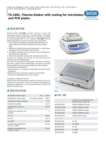 TS-100C, Thermo-Shaker with cooling for microtubes and PCR plates