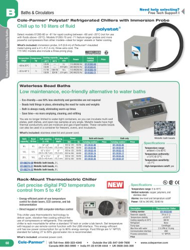 Cole-Parmer ®  Polystat ®  Refrigerated Chillers with Immersion Probe