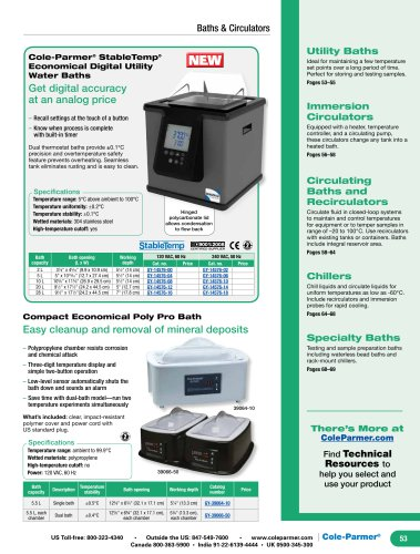COLe-Parmer® StableTemp® Economical Digital Utility Water Baths