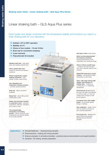 GLS Aqua Plus Series Linear Shaking Water Bath