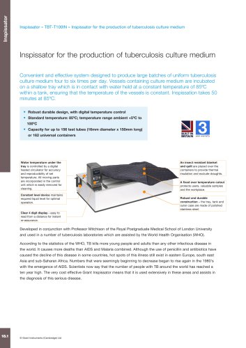 Inspissator for the production of tuberculosis culture medium