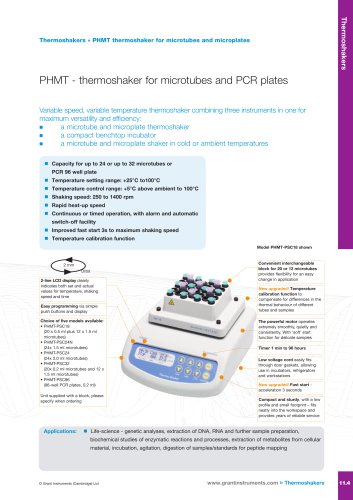 PHMT Series Thermoshaker For Microtubes and Microplates