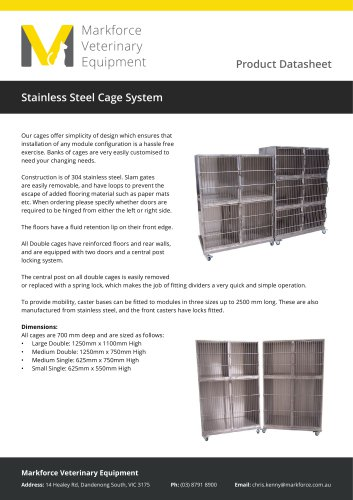 MVE Stainless Steel Cage System